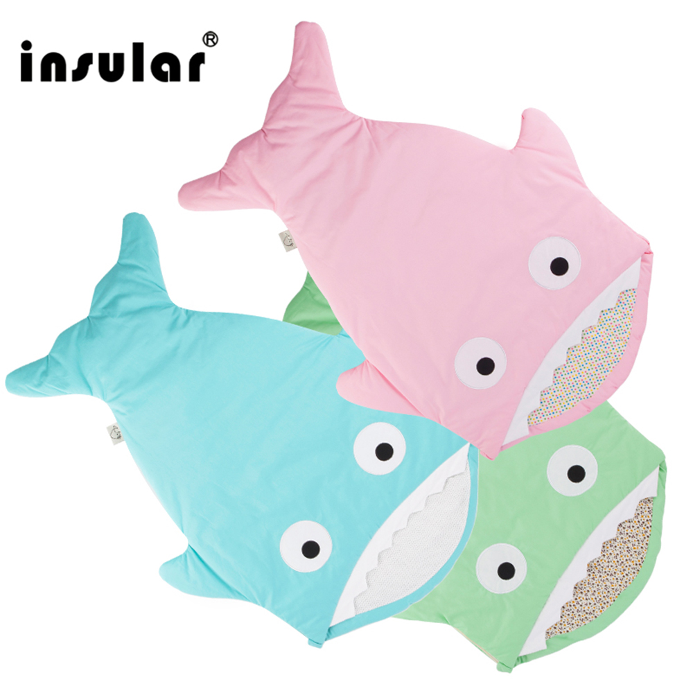 INSULAR New Shark Newborn Baby Sleeping Bag Winter Stroller Bed Swaddle Blanket Bedding Span Baby Cartoon Sleep Sack Bag Warm