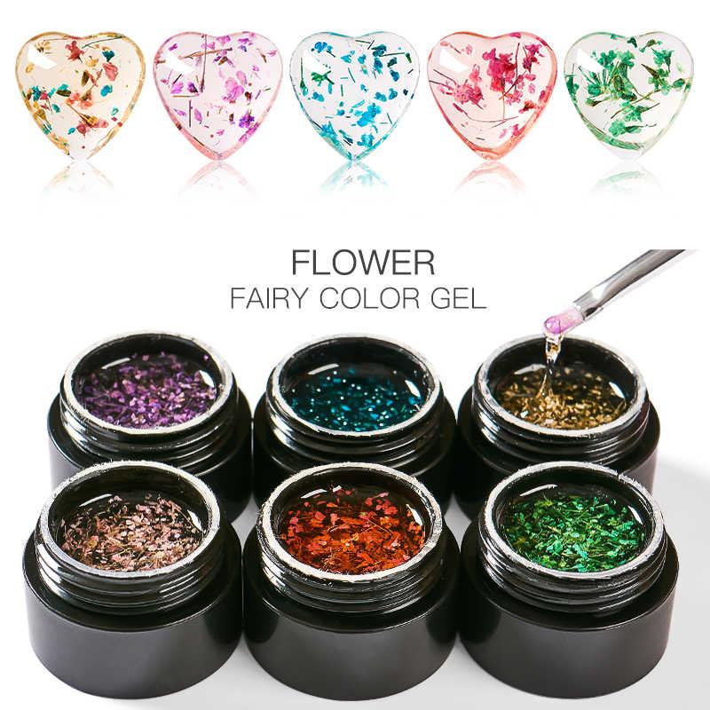 Mtssii 5ML esmalte de Gel UV Floral pintura de Gel de la suerte flores secas uñas arte pegamento 3D DIY Desgin Hada Natural laca de Gel de uñas