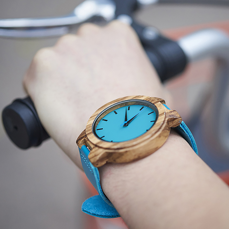 BOBO BIRD Women Watches Zebra Wooden Timepieces Turquoise Blue Men Watch Lovers Great Gifts Relogio Masculino