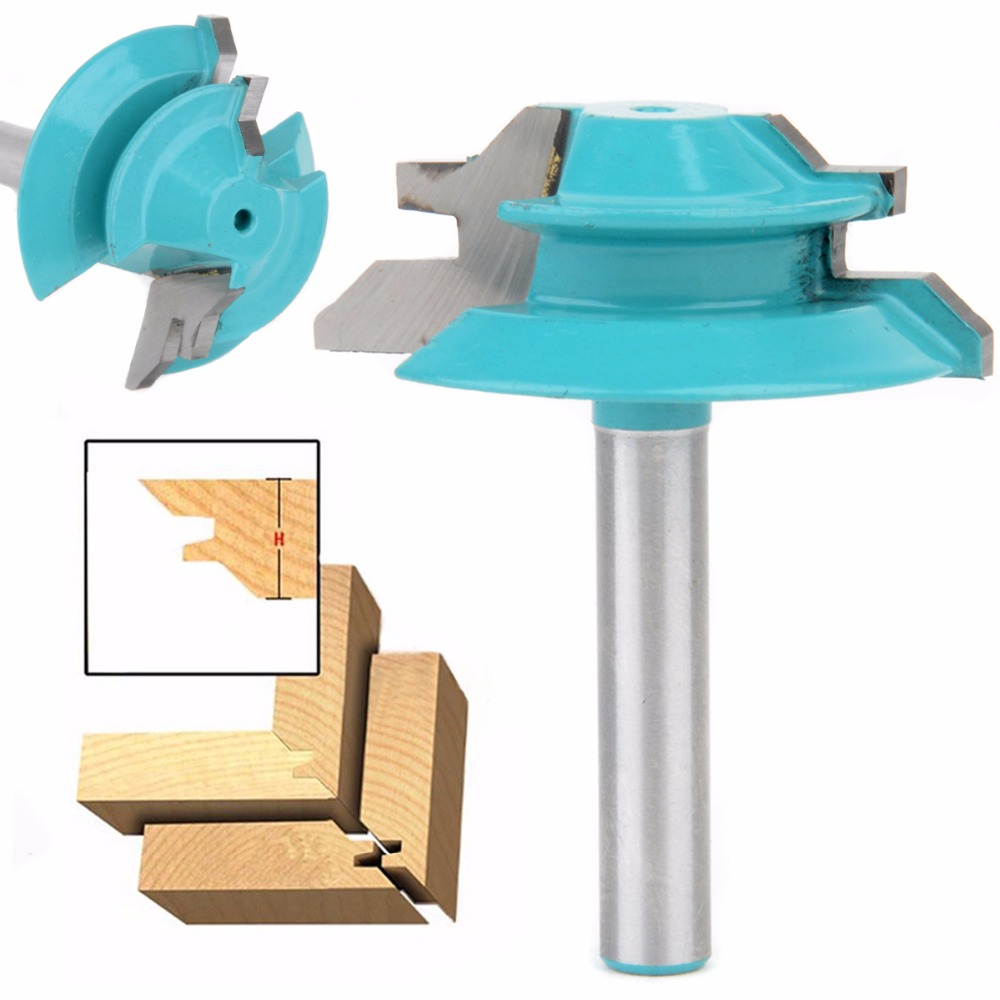 45 Degree Lock Miter Router Bit 1-1/2 Diameter 1/4 Shank Wood Cutter For Wood Working Drilling high grade carbide alloy 1 2 shank 2 1 4 dia bottom cleaning router bit woodworking milling cutter for mdf wood 55mm mayitr