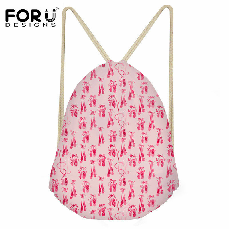 FORUDESIGNS Pink Ballet Shoes Print Women Drawstring Bag Casual String Backpack For Girls Travel Softback Backpacks Sack Cinch