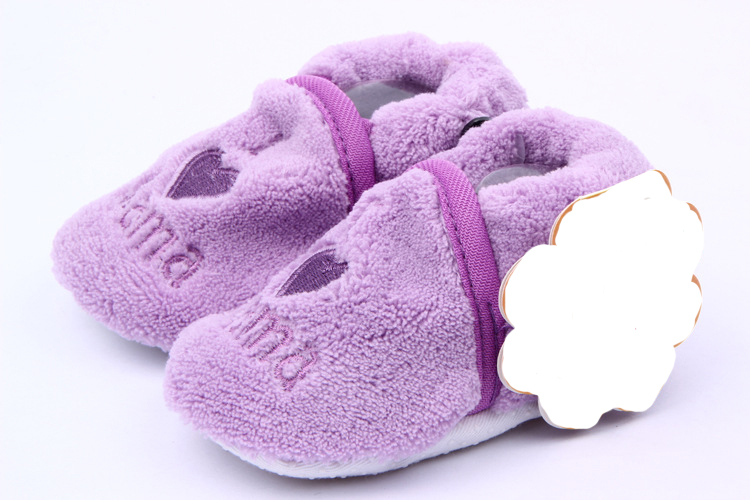 Kids Toddler Boys Girls Cotton Coral Fleece Skid-Proof Soft Sole Baby Shoes 0-1Y