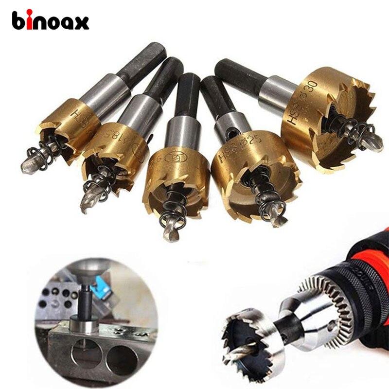 цена на Binoax 5 Pcs HSS Carbide Tip Drill Bit Saw Set 16/18.5/20/25/30mm Metal Wood Drilling Hole Cut Tool for Installing Locks
