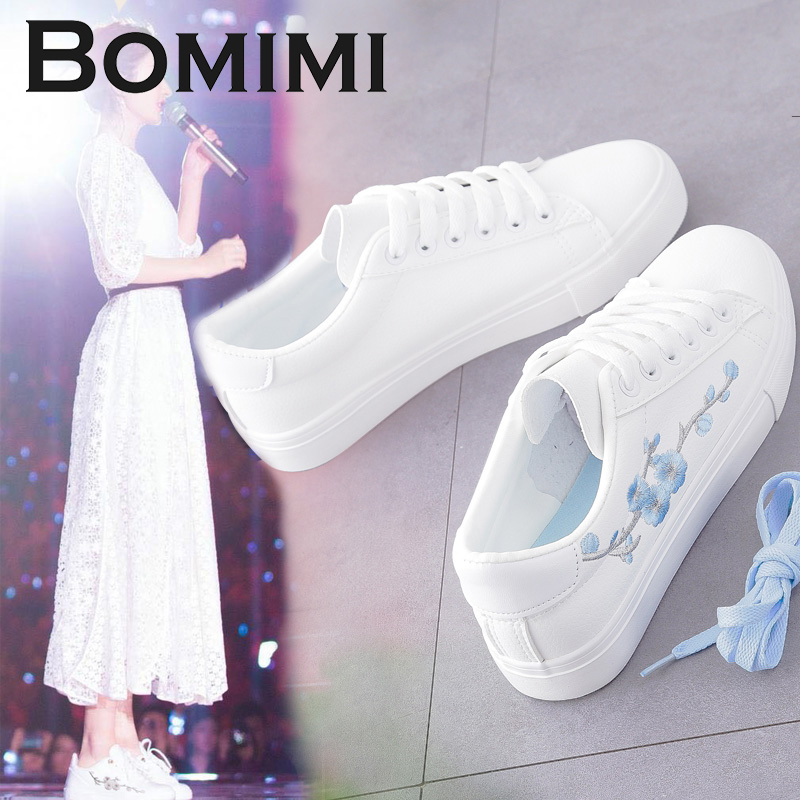 BOMIMI White Sneakers Breathable Flats Women Canvas Shoes Lace-up Flower Casual Ladies Shoes Woman Tenis Feminino