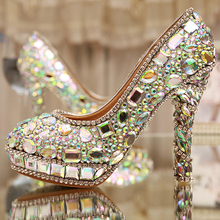 AB Crystal Heels Luxury Diamond Platform Bridal Pumps Wedding Shoes Lady Sparkling  Prom Party Shoes Mother of Bride Shoes