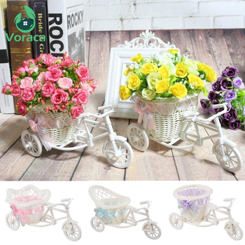 Modern Rattan Tricycle Bike Basket Garden Wedding Party Office Table Vase Storage Home Decoration Bedroom Vase Flower Decor Tool 1