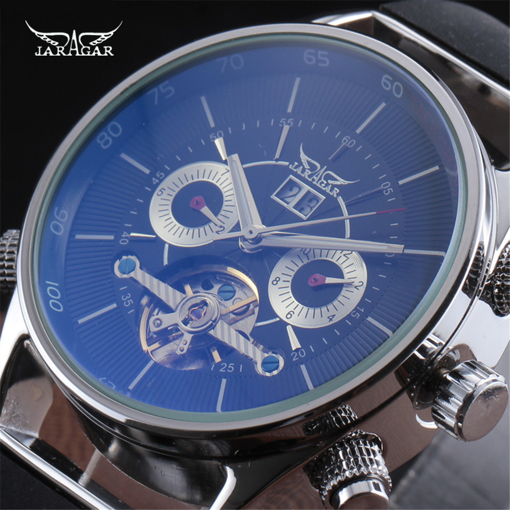JARAGAR Tourbillon Automatic Mechanical Men Clock Rubber Calendar Luxury Skeleton Military Watch Male Sport Wristwatches Gift forsining men luxury mechanical watches men s sports tourbillon automatic watch rubber strap auto date week month calendar clock