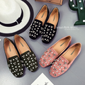 Rhinestone Shoes Flat Heel Rivet Loafers 2017 All-Match Spring Autumn Moccasins Square Toe Velvet Flats