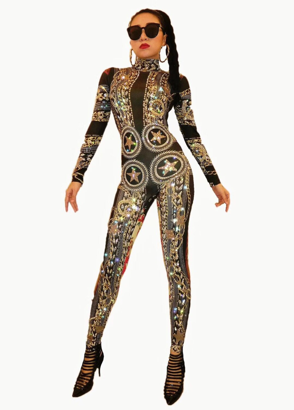 Gold Spandex Printed Stretch Rhinestones Jumpsuit Women s Sexy Bodysuit Costume Stage Outfit Singer Dancer Performance