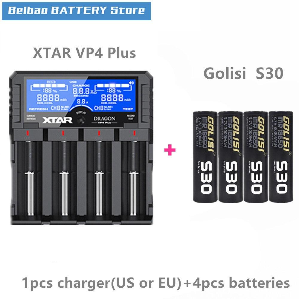 Golisi 4pcs S30 IMR 18650 3000mah E CIG rechargeable battery for VAPE with Nitecore I4 xtar