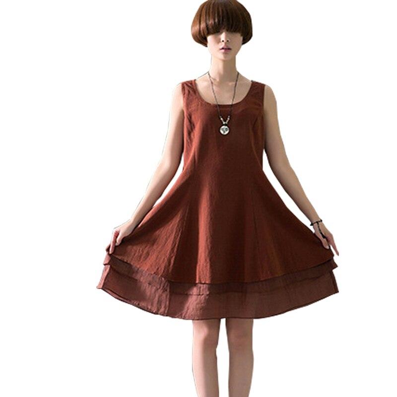 93b7059f059 Plus Size Midi Summer Dress 2017 Loose Ethinc Vintage Cotton Linen Dress  Women dashiki vestido Hippie Sleeveless Casual Dresses