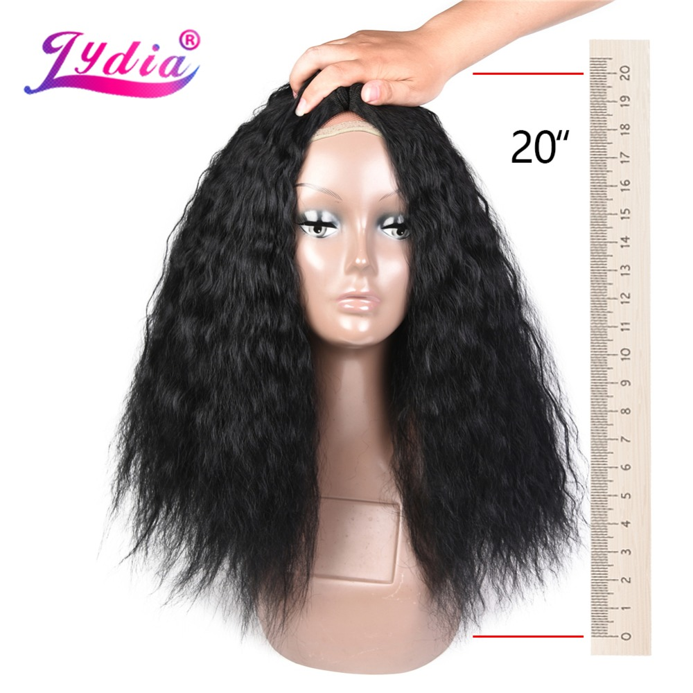 Lydia 1PCS Pack Kinky Curly Hair Weaving 18-24 Inch Nature Color Wave  Synthetic Hair Extension For Black Women Bundles 67b0a7c5a5