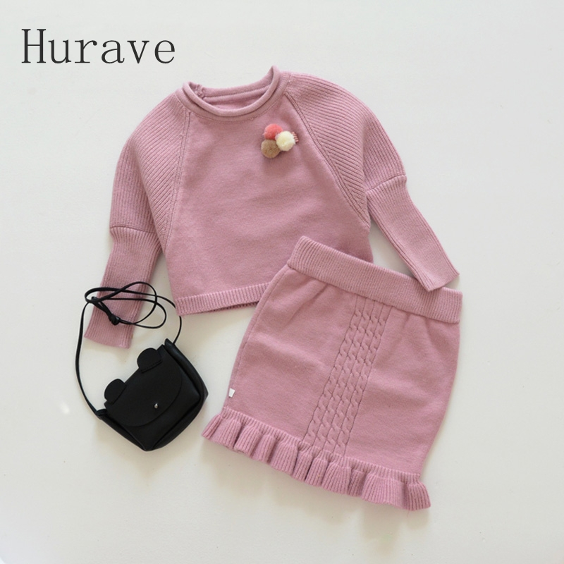 Hurave 2017 Autumn winter girls clothing sets kintted sweater + dress kids warm sets for toddler princess style C2L4 children sets girls winter sweater coat