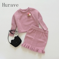 Hurave 2017 Autumn Winter Girls Clothing Sets Kintted Sweater Dress Kids Warm Sets For Toddler Princess