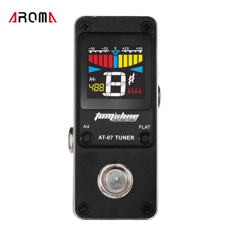 AROMA AT-07 Mini Chromatic Tuner Effect Pedal Mini Single Electric Guitar Effects aroma adr 3 dumbler amp simulator guitar effect pedal mini single pedals with true bypass aluminium alloy guitar accessories