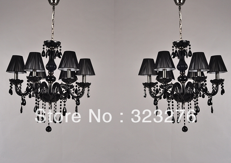 Free Shipping Elegance Black Crystal With 6 Fabric Shades Pendant