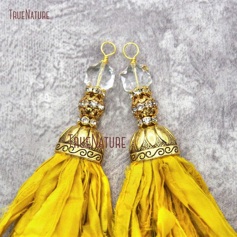10pcs Yellow <font><b>Sari</b></font> <font><b>Silk</b></font> <font><b>Tassel</b></font> Pendants With Crystal and Gold Rhinestone Ball Yarn Ribbon <font><b>Tassel</b></font> Pendant PM20059 image