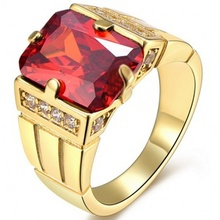 3.2CT Size 8 To 15 Jewelry Garnet Zircon stones 10KT Man's Gold Filled Ring Wedding Gift