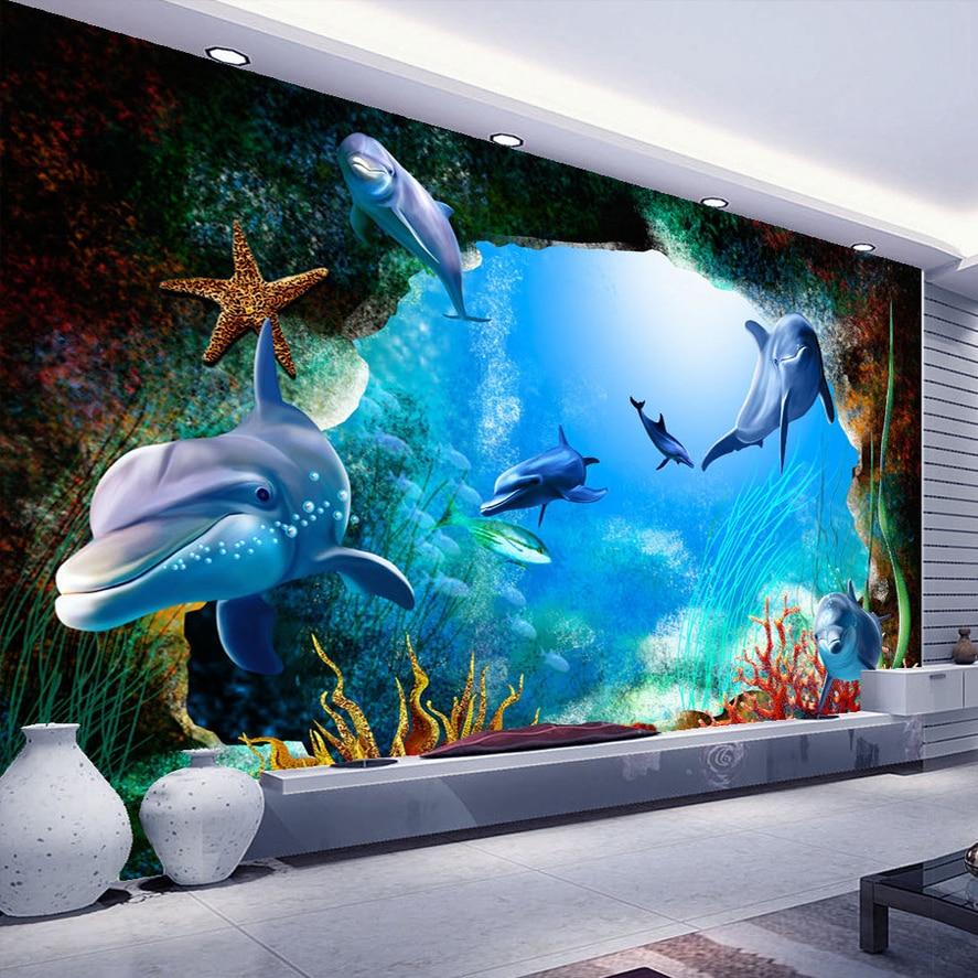 3d Wallpaper Cave Custom 3d Photo Wallpaper Scenery For Walls Ocean Seabed