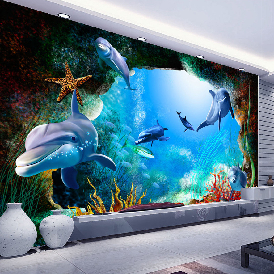 Online get cheap dolphin wall murals for Mural 3d wallpaper