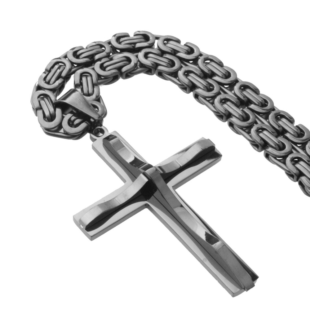 Personality Design Hot Stainless Steel Black Christian Jesus Cross Pendant With 5mm Byzantine Chain Necklace Men's Boy's Jewelry