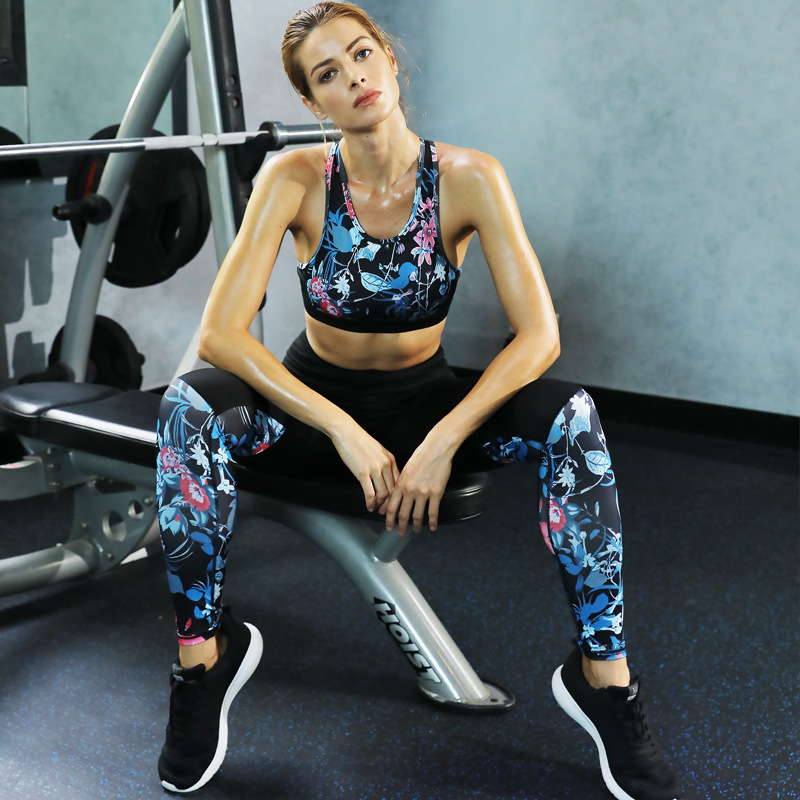 ECTIC Two-piece Yoga Set Printing Ladies Fitness Sportswear Bra + Leggings Sports Pants Suit Sexy Leggin Slim