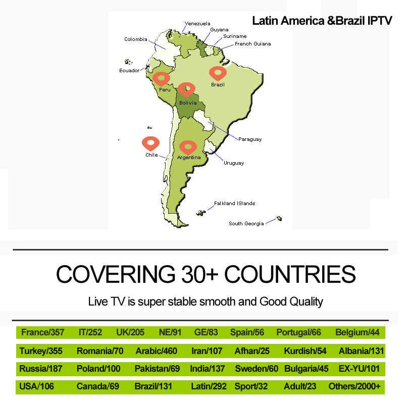 Iptv латиноамериканских танцев латино Америке Бразилии спортивной взрослых 1/3/6/12 месяц IPTV подписка Поддержка m3u enigma2 код для Mag 256 H X96 коробка