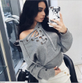 New Winter Bandage Sweater Sexy Off shoulder Tie Sweater Fashion New 2017 Woman Top Wear