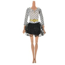 2016 Factory Price Dress For Barbies White Black Dresses Long Sleeves Dots Lace Dolls Clothes with