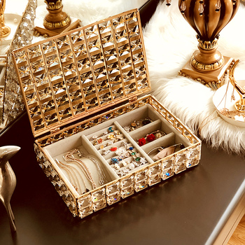 Nordic crystal jewelry collection box, simple fashion necklace earrings ear-nail box