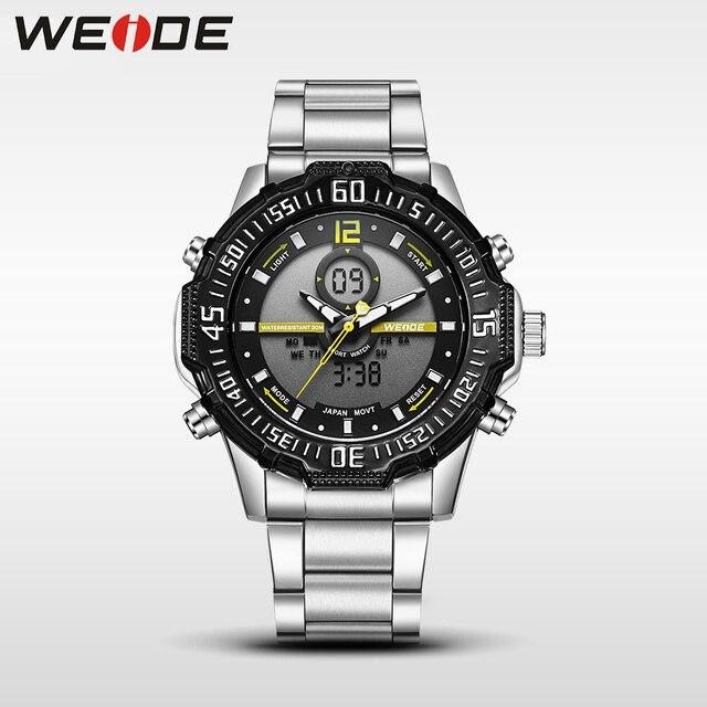 3d3f596bedf Weide casual genuine luxury brand quartz sport relogio digital masculino  watch stainless steel analog led men
