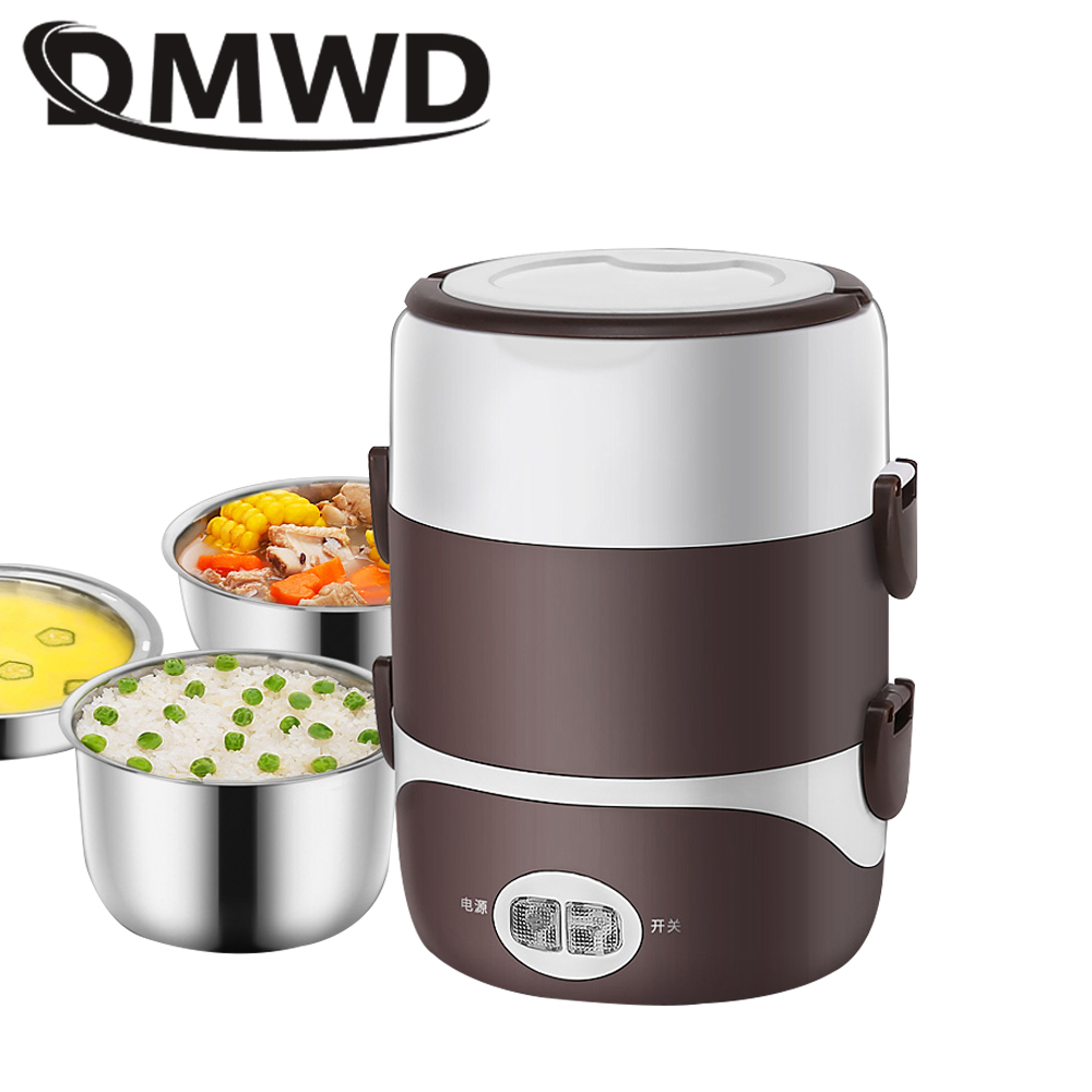 купить DMWD 2L Portable Electric Heated Food lunch box Mini Rice Cooker Stainless steel 3 Layers Liner Steamer Picnic Container Warmer по цене 847.93 рублей