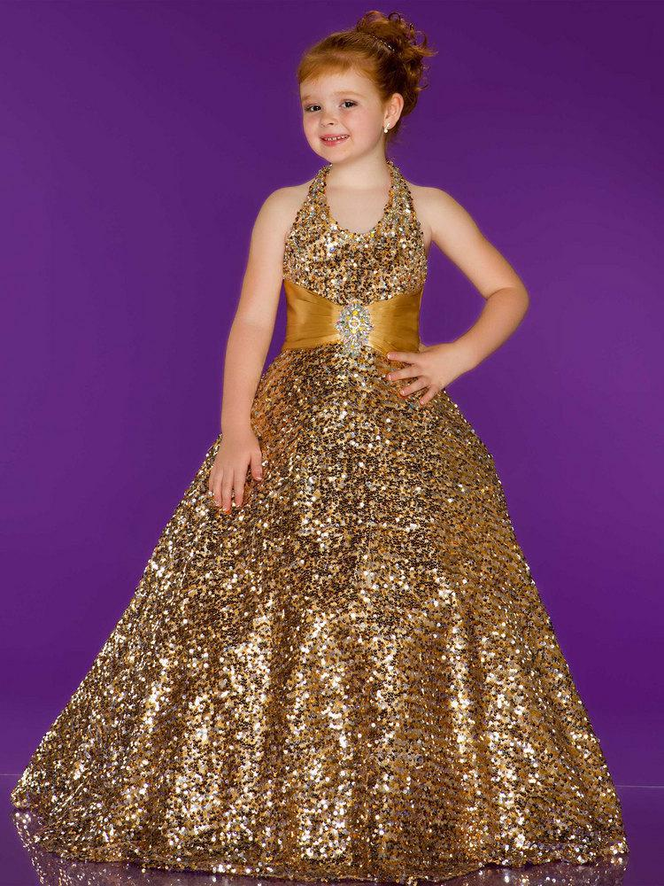 free shipping 2015 new hot sequined kids jordans colorful halter vestidos gold long formal custom gown party   Flower     Girl     Dresses