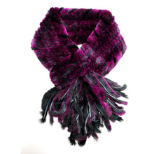 Size 100*14cm High Quality New Fashion 2015 Winter Women Knitted 100% Natural Rabbit Mixed-color Fur Scarf Long Style RS-001