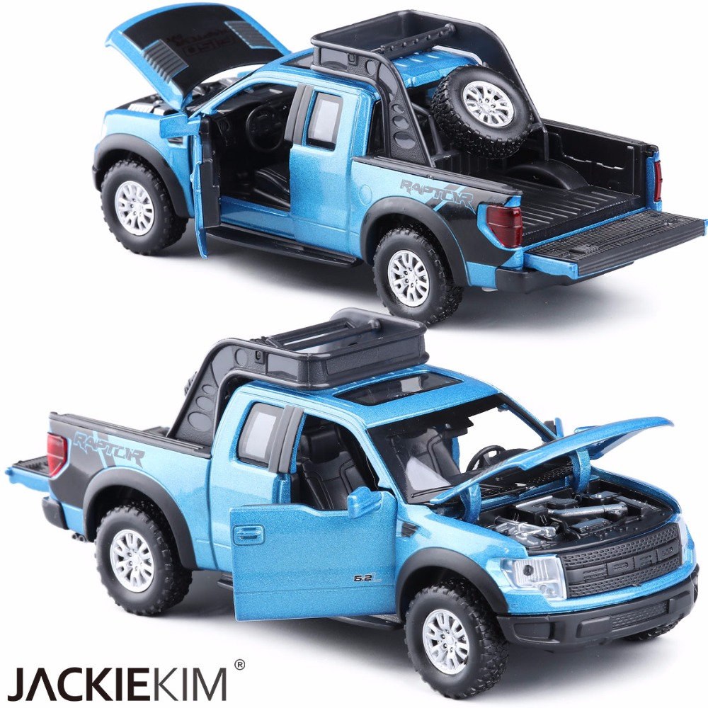 Free shipping new ford f150 raptor 132 pickup truck alloy car toy with musical flashing pull back for baby toy collection gifts in diecasts toy vehicles
