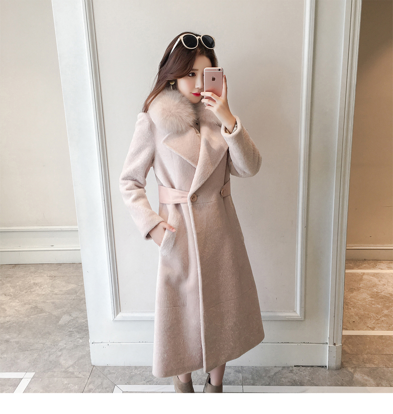 new winter fashion women's woolen cashmere overcoat with large fox fur collar maxi long jacket cloth female lady pink black xxl