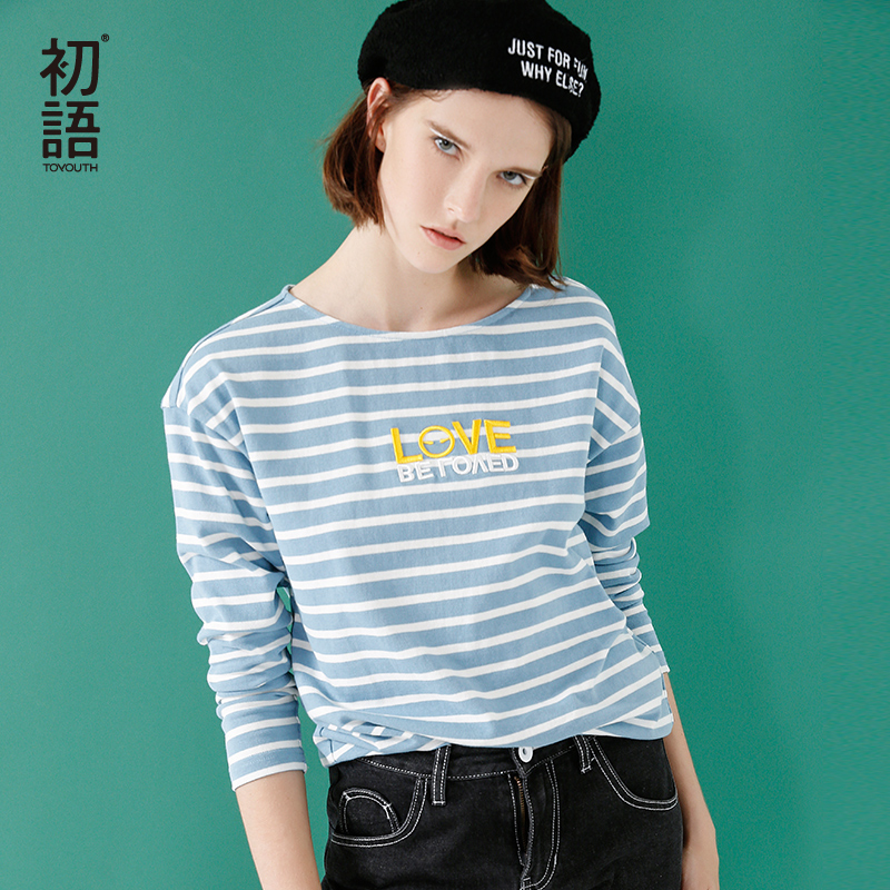 Toyouth Blue And White Striped Autumn T-shirts For Women Loose O Neck Cotton T-shirt Letters Embroidery Tops Camiseta Feminina ...