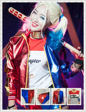 2016 NEW movie Suicide Squad Harley Quinn female clown cosplay costume clothing halloween anime coat jacket t-shirt  short wig