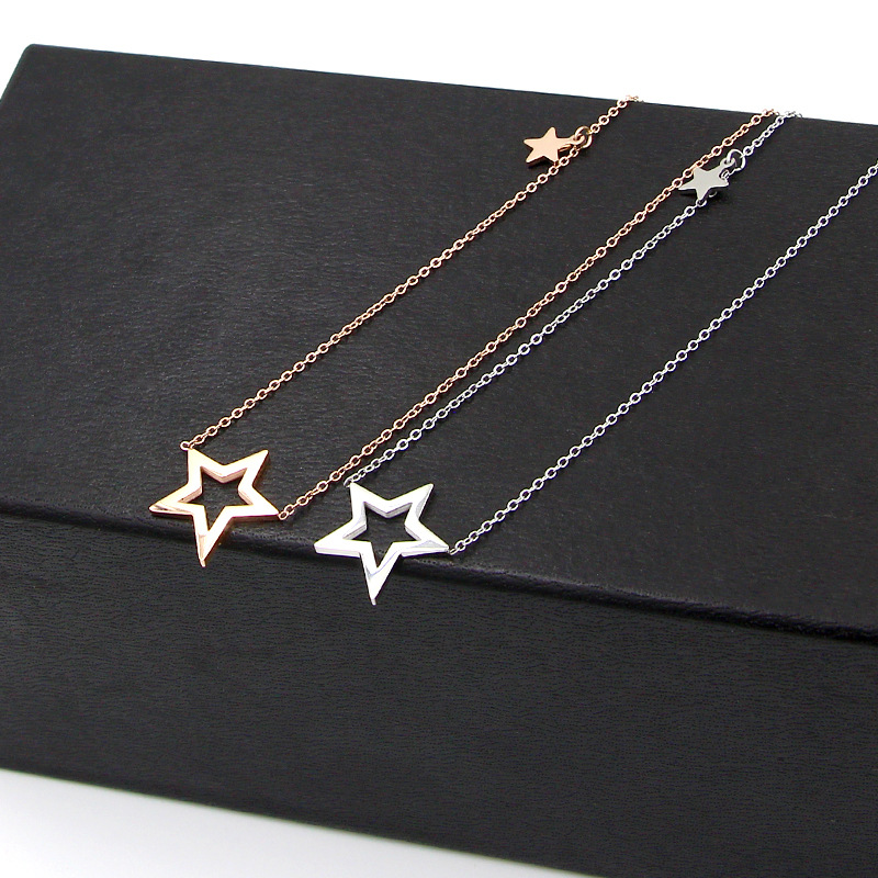 Fashion Brand Love Hollow Double Star Pendant Chokers Necklaces Stainless Steel Rose Gold Color Women Party Gift