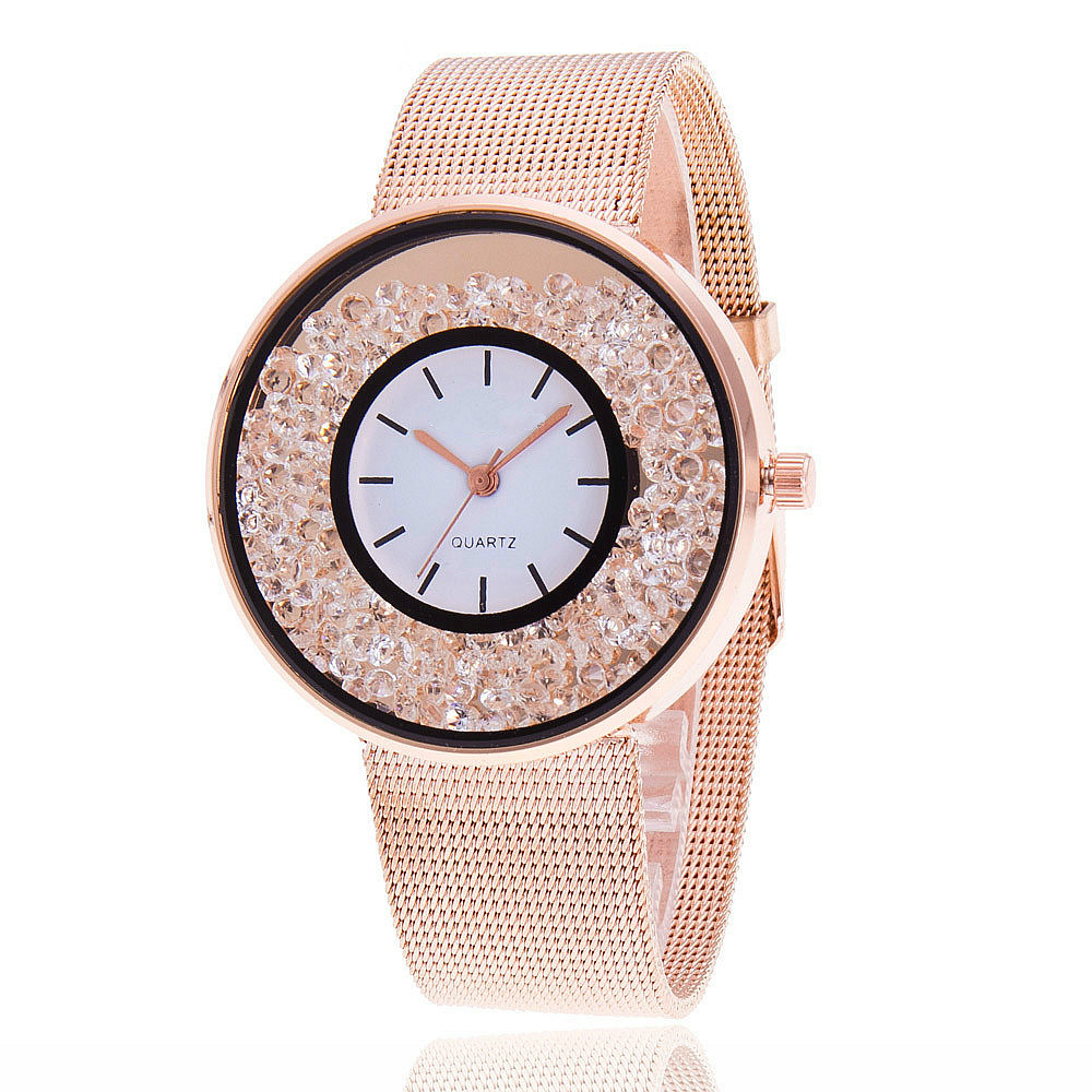 Stainless Steel Rose Gold Watches Quartz Watches Wrist Watch Luxury Women Rhinestone Relogio Feminino Hot Fashion Gift Clock new arrival fashion women watches analog quartz rhinestone crystal stainless steel wrist watch relogio feminino