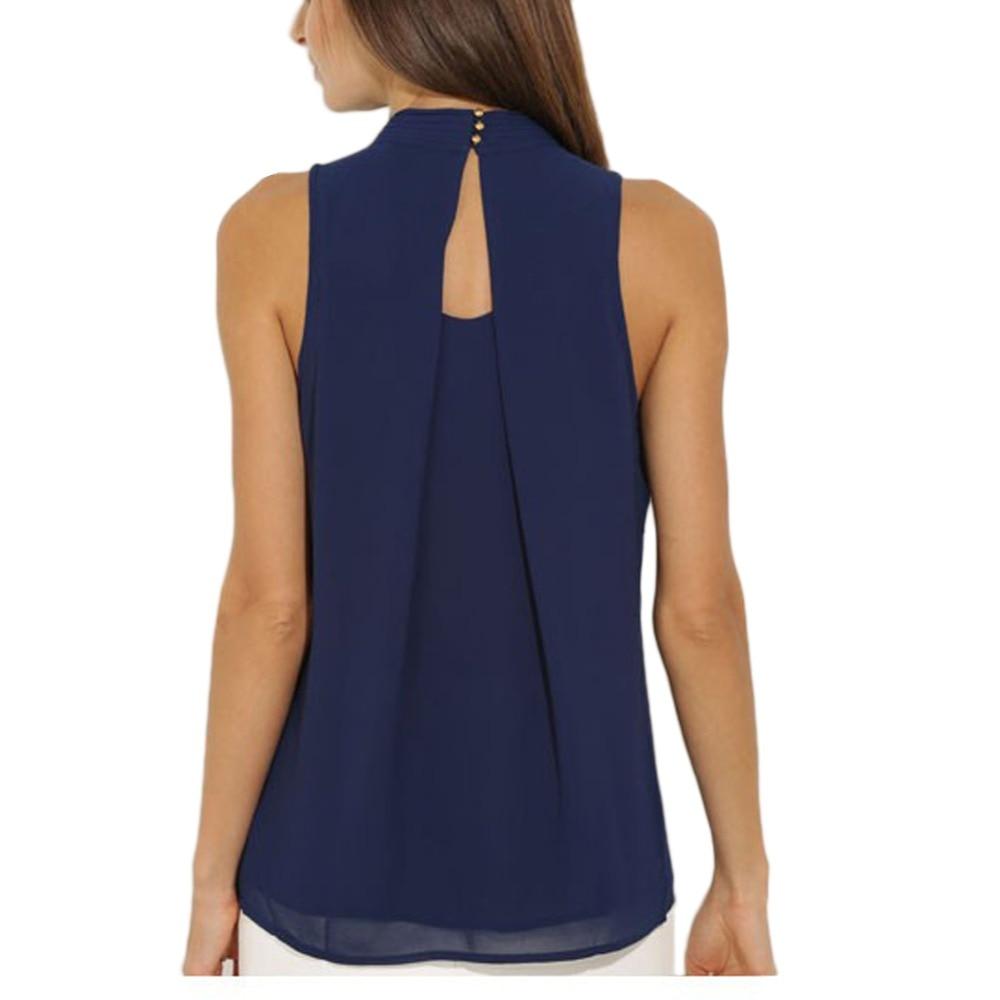 Women Tops Plus Size S-XXXL Casual Chiffon   Blouse   Chic Elegant Lady Navy Black   Shirts   Tops S-XXXL S4