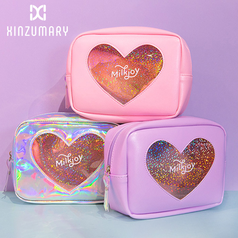 Women Lovely Storage Bags Cosmetic Cases Diamond Hologram Heart Girl Make Up Bag Cases Solid Color Travel Toiletry Bags Shining