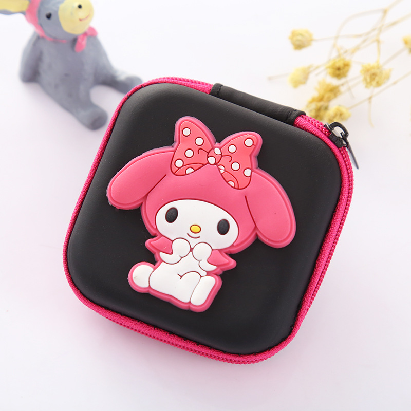 Woman Silicone Coin Purse Cute Cartoon Pink Girls Gifts Mini Earphone Holder Bags Case Box Rectangle Small Change Pouch Wallets modella personal purse case pink polka dots 2 count