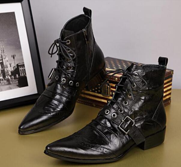 995435ca12c5f Mens Black Leather Boots Fashion Designer Lacing Up Buckle Strap Pointed  Toe Short Motorcycle Boots Men EU38 46-in Motorcycle boots from Shoes on ...