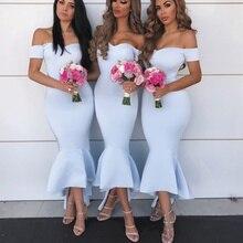 SuperKimJo Cheap Bridesmaid Dresses 2019 Light Blue Mermaid Satin Off the Shoulder Wedding Party Dresses Vestido De Festa