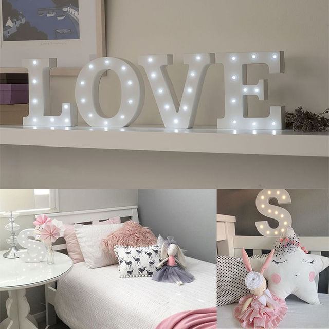 A Z White Wooden Led Letter Lights Sign Alphabet Night Indoor Wall Desk Decor Craft For