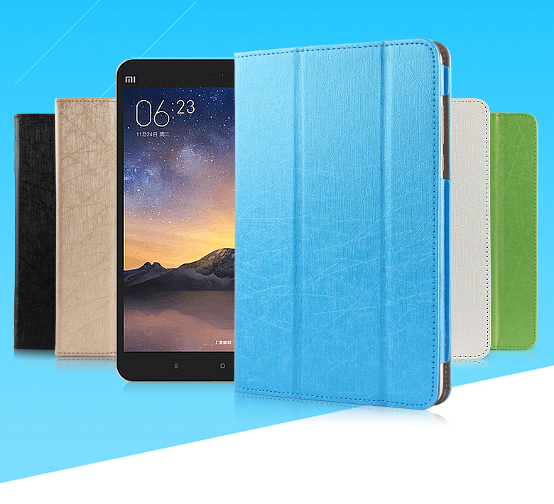 For xiao mi mipad 3 Luxury Case Wake Sleep Stand Smart 3 Folding Flip Leather Cover for Xiaomi Mi Pad Mipad2 7.9'' tablet PC for xiaomi mipad2 mipad3 7 9 inch mipad 2 mipad 3 case ultra slim cover luxury colorful cartoon flip leather case film