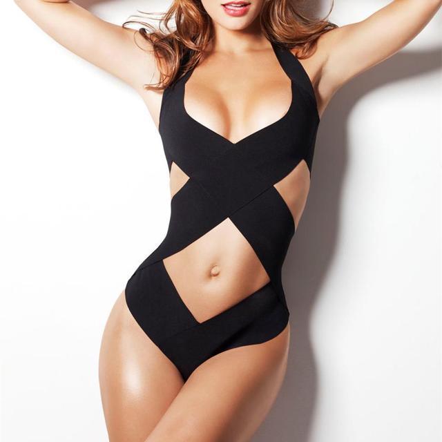 7c91600f51 Summer Style Black Bandage Strappy Sexy One Piece Swimsuit Swimwear Women  Bathing Suit Swimsuits Monokini Maillot De Bain 2015