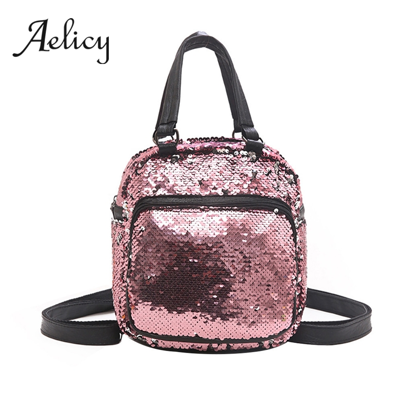 Aelicy Women Fashion Sequins Backpack Mini Waterproof Leather Wild Small Satchel Lady Girls Shoulder Bag Multi-purposeAelicy Women Fashion Sequins Backpack Mini Waterproof Leather Wild Small Satchel Lady Girls Shoulder Bag Multi-purpose