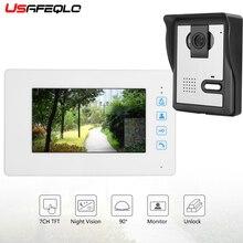 """USAFEQLO безопасность RFID пароль """" проводная видеодомофон видео дверной звонок с наружной камерой 700TVL визуальный домофон удаленный разблокировка"""